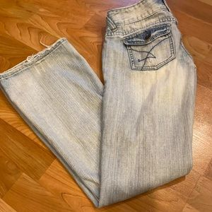 Distressed Light Wash Flare Jeans